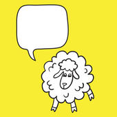 Sheep With Speech Bubble. Illustration card with hand drawn lamb and bubble speech. Beautiful vector design. — Stock Vector