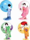 Geisha seasons set — Stock Vector