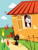 Cats serenade — Vector de stock