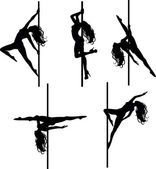 Five Pole dancers silhouettes — Stock Vector