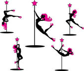 Bailarinas de pole glamour — Vector de stock