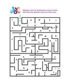 Alphabet mazes for Kindergarten and pre school. — Stock Vector