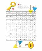 Letter Maze K. This worksheet helps kids recognize and name capital and lowercase letters. — Stock Vector