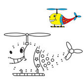 Dot to dot game, helicopter coloring book for children. — Vetor de Stock