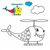Coloring book the helicopter in the sky with clouds for young children with small items for example. — Stock Vector