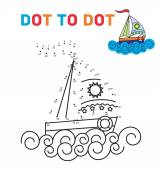 Coloring book dot to dot. The boat. For teaching young children. Connect the dots by numbers and paint a picture. — Stock Vector