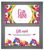 A set of two templates of gift cards with color ornament for print or website. — Stock Vector