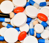 A lot of medicines, pills and capsules — Stockfoto