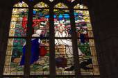The stained-glass window of the church St Sulpice — Stock Photo