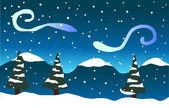 Falling snow, trees and mountains in the snow — Vector de stock