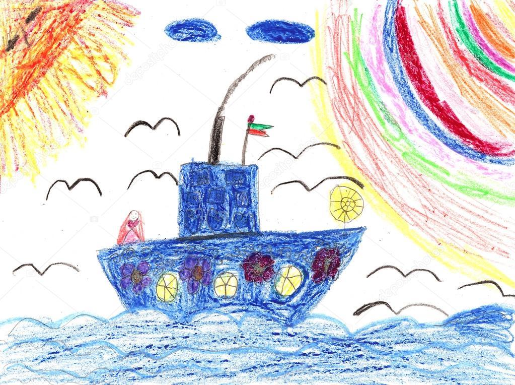 Детские рисунки с морем и кораблями