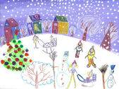 Watercolor children drawing winter sleigh ride — Stock Photo