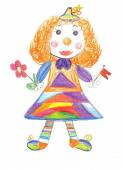 Children drawing Circus clown — Stock Photo