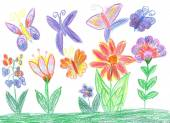 Child drawing butterfly and flowers nature — Stock Photo
