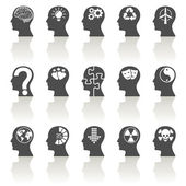 Thinking Heads Icons — Stock Vector