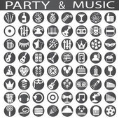 Party and music icons — Stock Vector