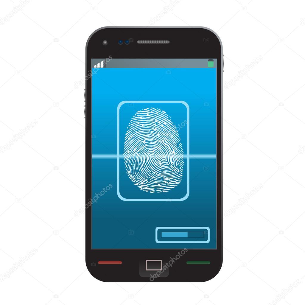 高品质的例证的现代智能手机随着进程的扫描指纹的屏幕上.