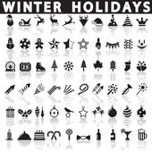 Winter Holiday Icons, Vector — Stock Vector