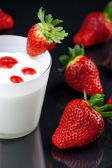 Fresh yogurt's mousse with strawberry cream — Stock Photo