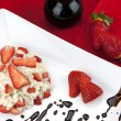 Strawberry risotto with traditional italian balsamic vinegar — Stock Photo #65668555