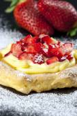Zeppole with strawberry- tipical italian pastry — Stock Photo
