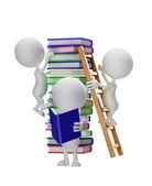 White character with books — Stock Photo