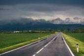 通过绿色的田野、 山背景上的道路 — 图库照片