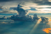 Above the clouds on sunset — Stock Photo