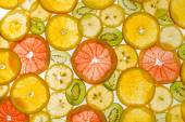 Transparency sliced fruits on white background — Stock Photo