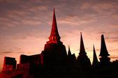 Silhouette of Wat Phra Sri Sanphet, Thailand — ストック写真