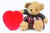 Nounours romantique avec coeur rouge — Photo