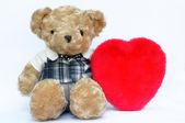 Romantic teddy with red heart — Foto de Stock