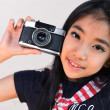 Little girl shooting with a vintage camera — Stock Photo #62214133