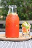 Verschillende flessen van sap met vruchten — Stockfoto