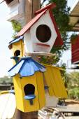 Colorful bird house — Stock Photo