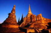 Twilight time of Wat Phra Sri Sanphet, Thailand — Stock Photo