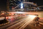 The traffic at night on Sathon road,Thailand — Stock Photo