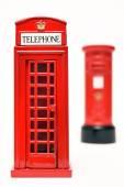 London postbox and telephone box — Stock Photo