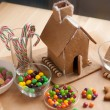 Decorating a Christmas Gingerbread House — Stock Photo #60156987