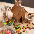 Decorating a gingerbread house — Stock Photo #60157115