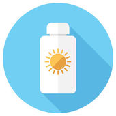 Bottle with suntan cream icon — Stock Vector