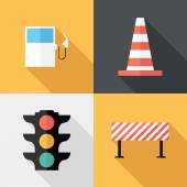 Flat design Traffic sign icons. — Stock Vector