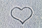 Snowy warm heart — Stock Photo