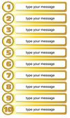Gold colored list template for writing of ten tips — Vecteur