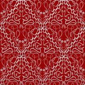 Red fabric with an light old-style brocade pattern — Stock Vector