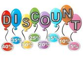 Colorful balloons with the inscription discount — Vector de stock