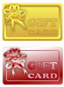 Gift card with ribbon in two color variants — Stockvektor