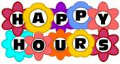 Happy hours inscription in multicolored flowers — Stock Vector