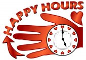 Happy hours billboard with a clock on the palm — Stock Vector