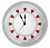 Clock with hearts on the clock face — Stock Vector